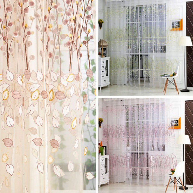 Stylish Floral Sheer Tulle Curtain Window Room Drape Panel Scarf Curtain  New Arrival