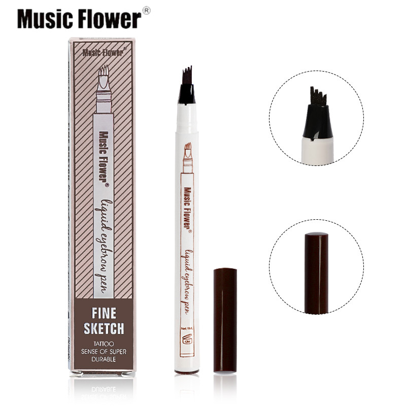 Music Flower Proffesional 3Colors Makeup Fine Sketch Liquid Eyebrow Pen Waterproof Tattoo Super Durable Eye Brow Pencil Cosmetic