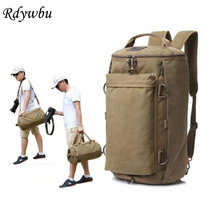 Rdywbu Men's Canvas Multifunctional Travel Bags Vintage Large Capacity Backpack Retro Satchel Shoulder Rucksack Bucket Bag B288