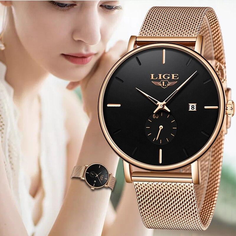 2019 LIGE Simplicidade Casual Data de listagem do Novo Mulheres De Luxo Vestir Relógio de Ouro Relógio de Quartzo das Mulheres de Alta Qualidade Relógios Montre femme