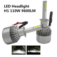 2x H1 55W Car Headlights Conversion Kit Fog Driving Lamps Light Source COB LED Headlamp White 6000K 9200LM with CREE Chip