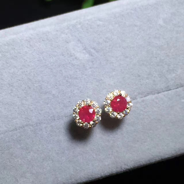 Natural Red Ruby Stone Stud Earrings S925 Silver Gemstone Compact Round Women S Office