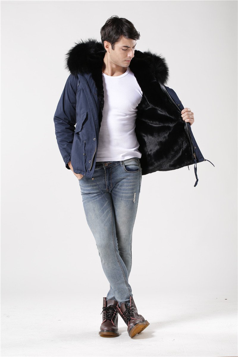 High quality dark blue coat black fur real big raccoon fur collar fur jacket men winter outerwear fur parka dark blue pocket roll up turndown collar winter outerwear