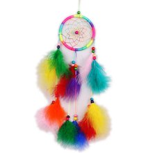 Multicolor อินเดีย Dream Catcher Handmade Feathers Wind Chimes ผนังแขวน(China)