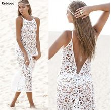 2018 Sexy Women Summer Boho Long Maxi Dress Beach Lace Dresses White New Wholesales Discount