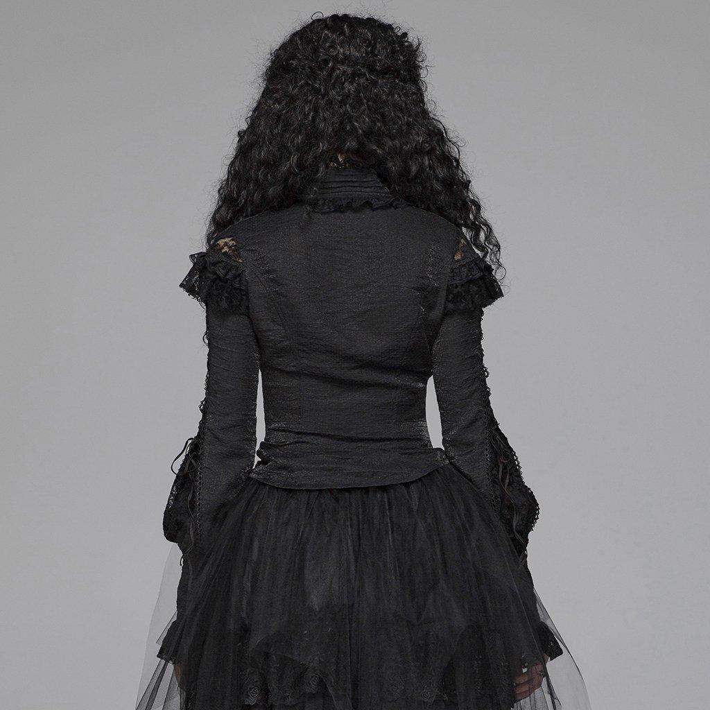 Steampunk Gothic Ronde Kraag Rozen Bloemen Flare Lange Mouw Zwart Sexy Kant Shirt Voor Vrouwen Punk Hol Swallow staart Shirt - 3