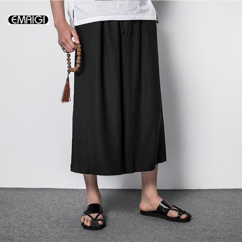 2017 Летом Комфортно Тонкий Мужчины Широкую Ногу Брюки Япония Стиль Мода Повседневная Белье Мужчины Свободные Юбки Брюки