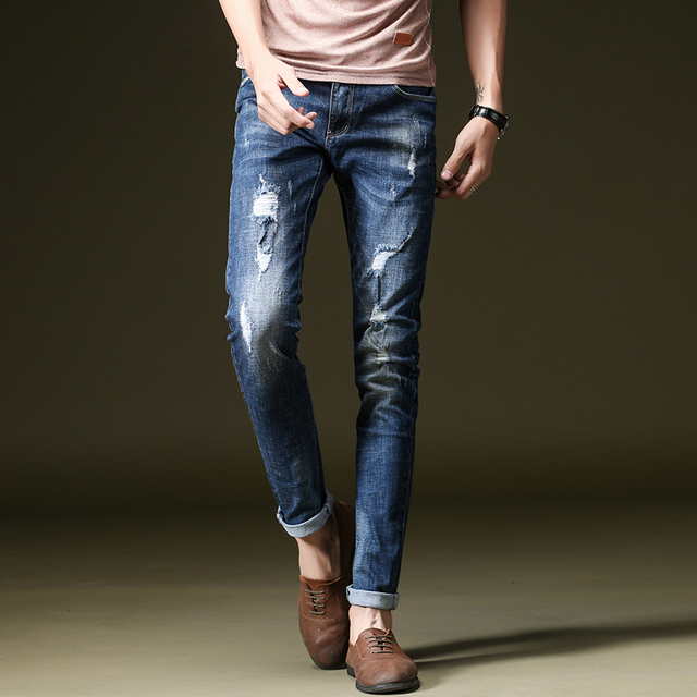 d7ed71e61 NIGRITY 2019 Spring New Design Model Men Slim Fit Elastic Light Vintage  Blue Jeans Fashion Pant Stretch Distressed Male Trousers
