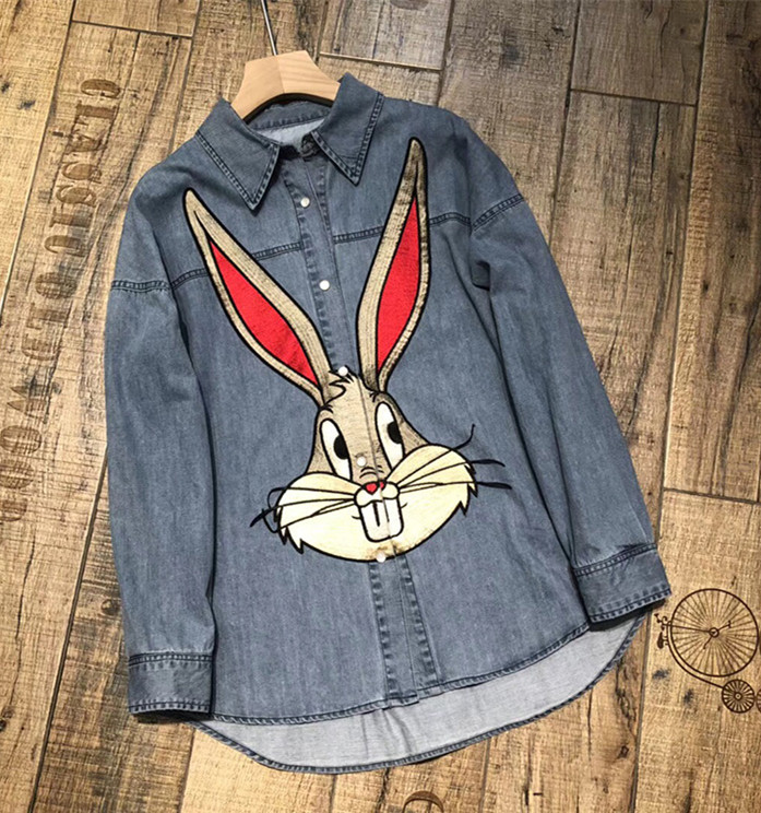 Urumbassa кролик вышивка человек/wo Для мужчин повседневная Джинсовые рубашки 2018 сезон: весна–лето 100% хлопок с длинным рукавом Для мужчин's футбо