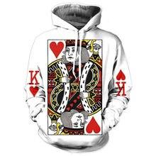 Сердце Карты Мужчины Толстовка 3D Графический Печати Играть В Покер Король Кофты Хип-Хоп Стиль С Капюшоном Спортивный Костюм Мода Пуловер(Hong Kong)
