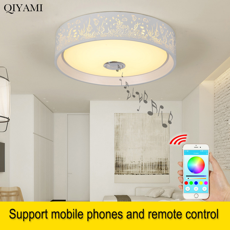 New Modern 24w 36w Led Ceiling Light Music Playing Fixture Bluetooth Speaker App Control Smart Home Party Lighting Lampara Techo Elegant In Style Ceiling Lights