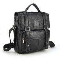 Men Genuine Real Cow Leather Handbag Multi Compartment Top Handle Shoulder Cross Body Bag Messenger Satchel