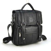 Men Genuine Real Cow Leather Handbag Multi Compartment Top Handle Shoulder Cross Body Bag Messenger Satchel Casual Daily Flap