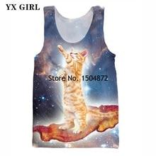 2018 New Fashion Funny Alien Cats Printing Vest Tank Tops 3d Astronaut Kitty Galaxy Cute Cat 3D Print Bodybuilding Vest