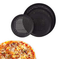 6.5,10,12,14 inch Nonstick Carbon Steel Pizza Tray Pizza Pan with Holes Bakeware Accessories Pizza Plate Dishes Holder