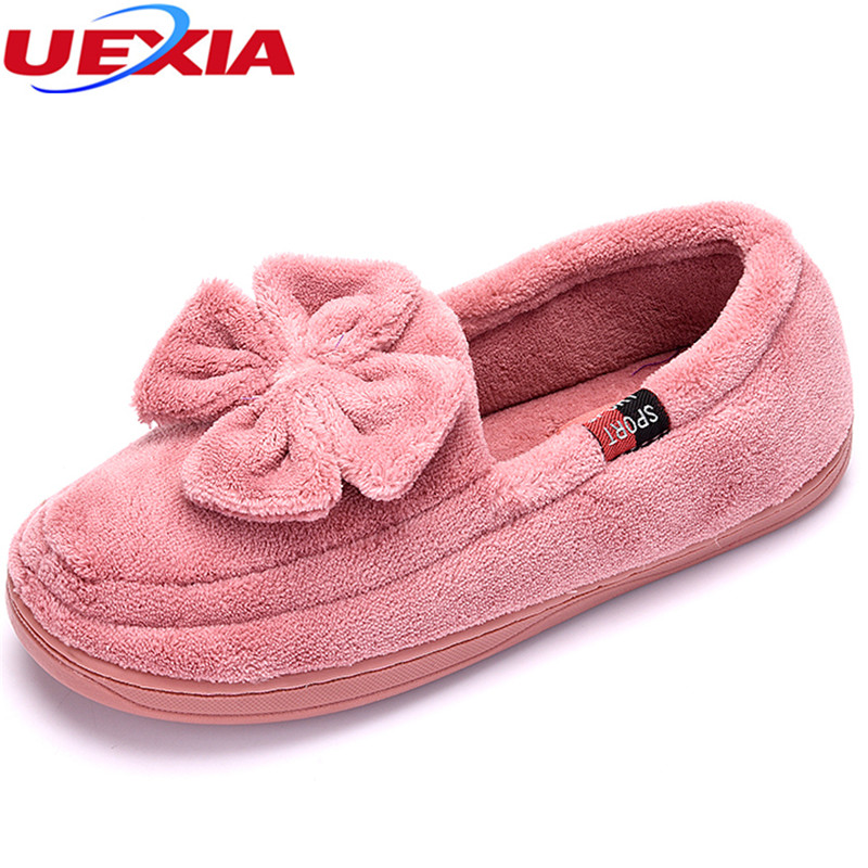 UEXIA New Women Winter Fashion Causal Shoes Slip on With Faux Fur for Sexy Ladies Warm Women's Shoes Indoor Warm Plush Slippers uexia women winter warm fur plush loafers fashion round toe slip on ladies casual flats shoes women s bow tie ladies footwear