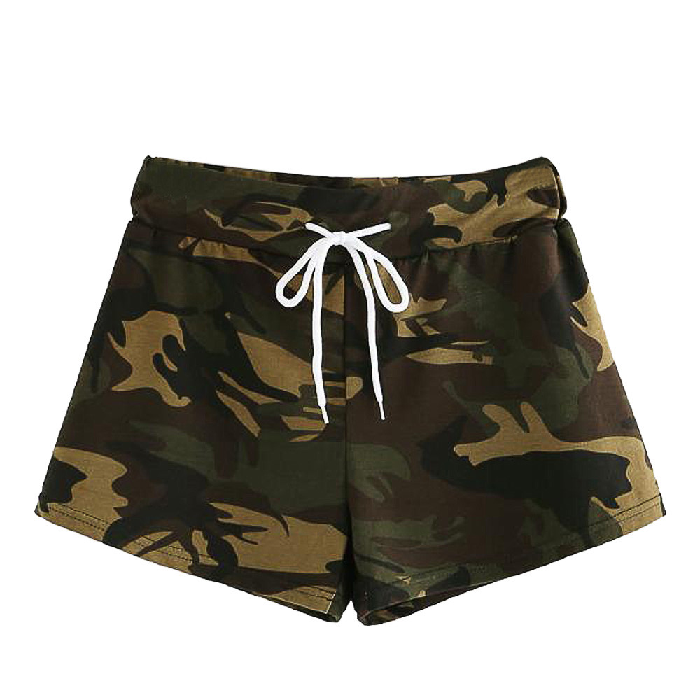 Summer Fashion Womens Casual Hot Sport   Shorts   Trousers Casual Camouflage Drawstring Mid Waist Korean Street Style Sweatpants
