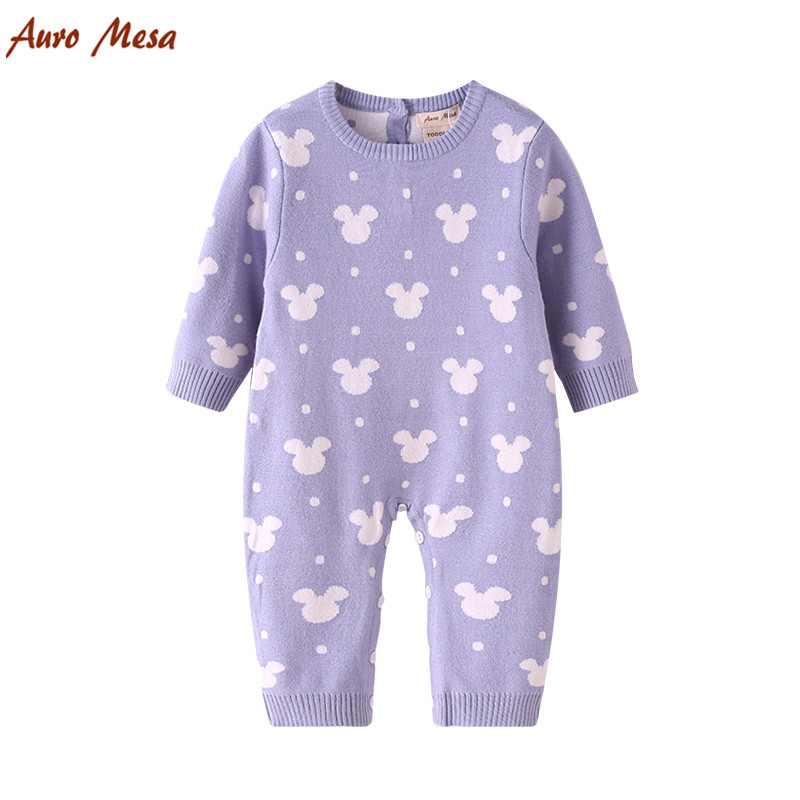 New 2017 Baby Girl Knitting Jumper  Newborn baby Romper 100%Cotton Cartoon Style Soft Baby Playsuit Infant Outerwear 2017 new baby romper 100