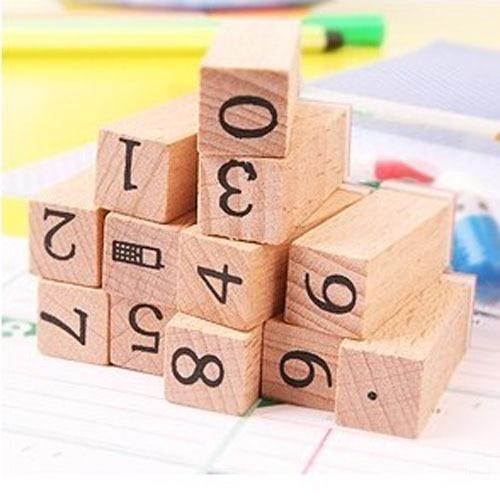 Anglais Cursive Digital English Stamp Wooden Alphabet Digital Letters Seal Set Standardized Stamps 12 Small Wooden Figures Stamp