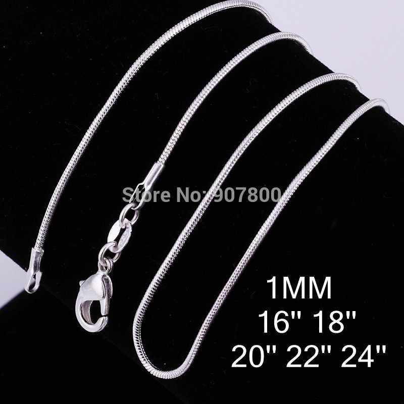 Venta al por mayor de 1MM collar de cadena de serpiente de color plateado de 16-24 pulgadas joyería de moda para mujer colgante envío de la gota