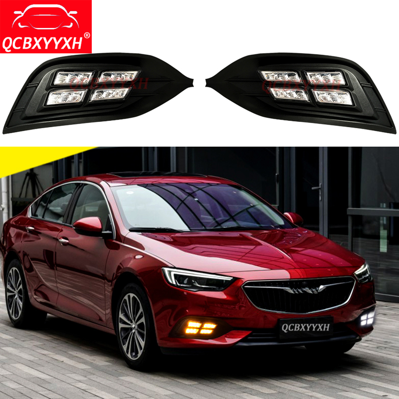 QCBXYYXH White Turn Yellow Signal Light Car-styling 12V LED DRL Daytime Running Lights For Buick Regal OPEL INSIGNIA 2017 2018 for opel astra g box f70 1999 2005 former car styling led daytime running lights modified yellow glass