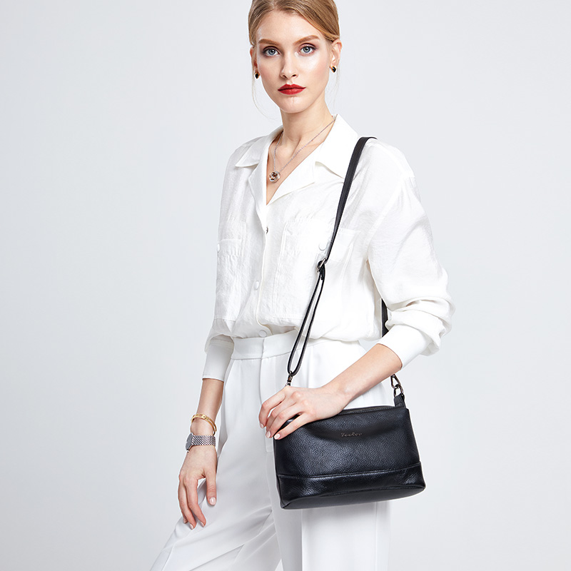 Mode Dames leer Koe portemonnee zwarte vrouw schoudertas zachte - Handtassen - Foto 2