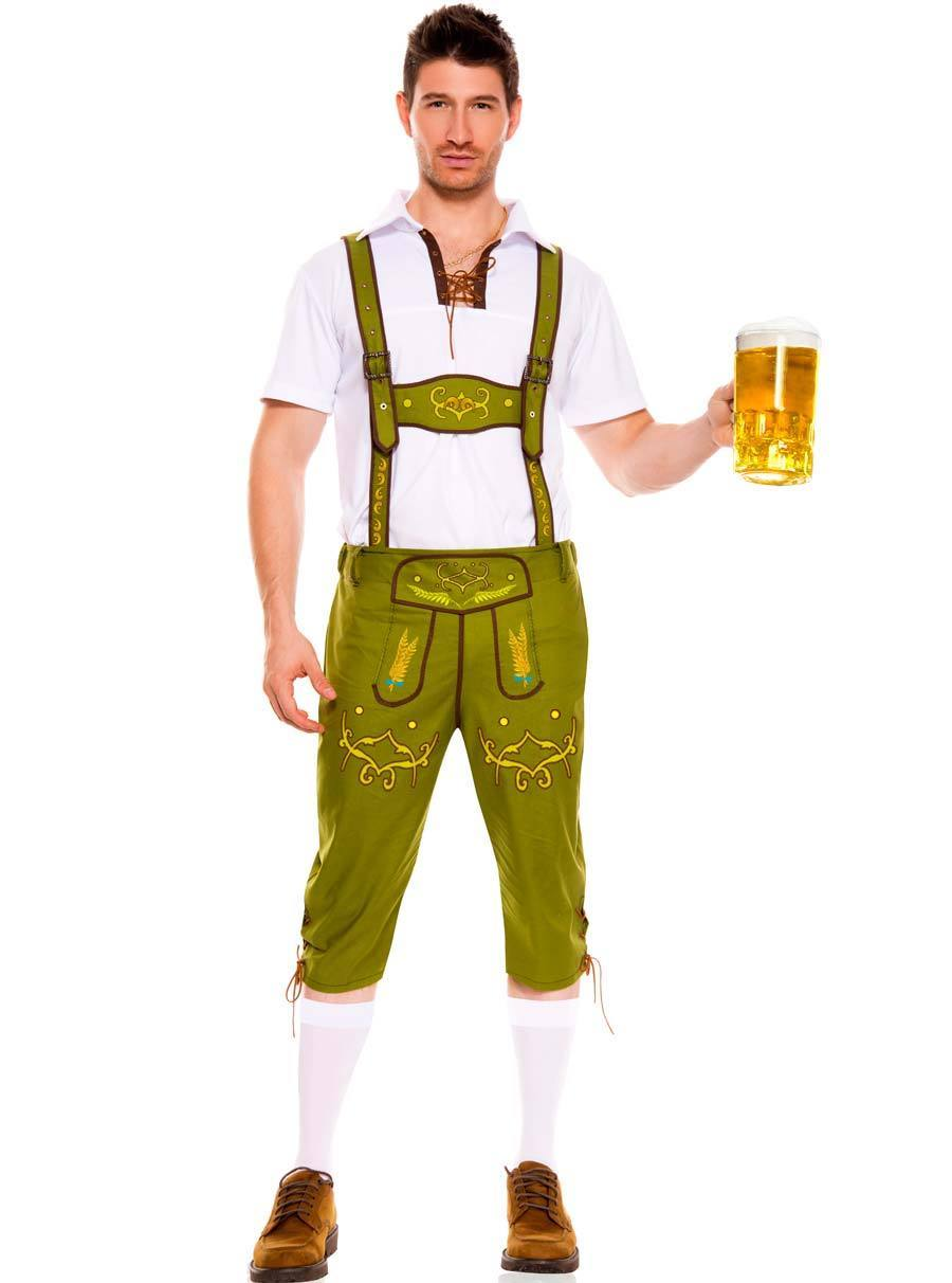 TITIVATE German Bavarian Octoberfest Festival Beer Guy Costume White Shirt 3-color-shorts Traditional Carnival Cosplay For Men