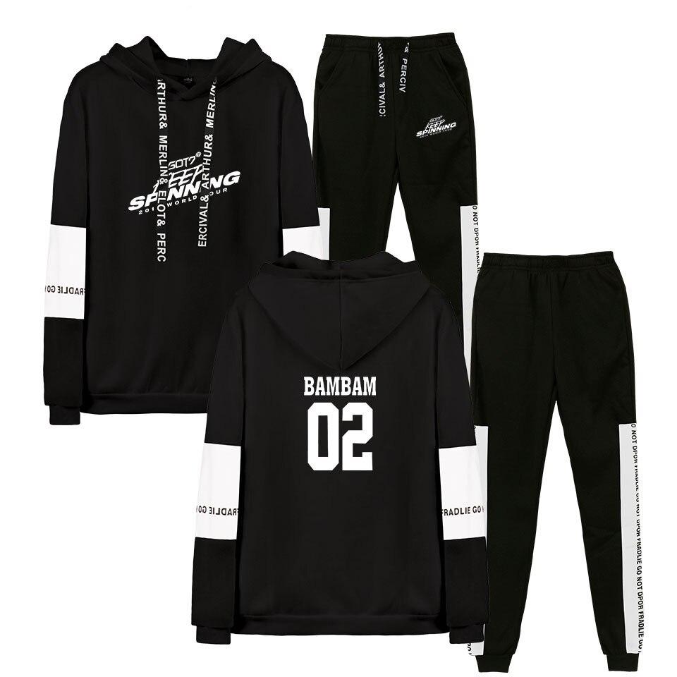 2D GOT7 2019 WORLD TOUR New  Sweatshirt Suit Print Women/men CASUAL Spring Clothes Hot Sale Capless Long Sleeves Hoodies Suit