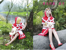 Hot Anime LOL Annie Belle Costume Halloween Party Lolita Dress Costume Red Little Red Riding Hood Princess Dress