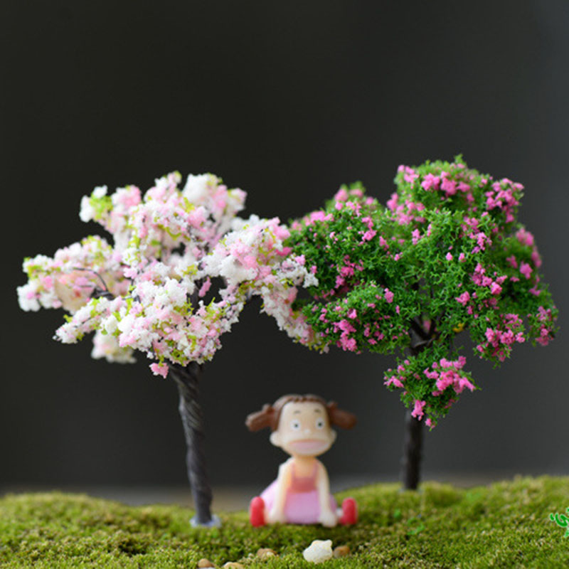 Simulation Christmas Tree Flower Fairy Garden Miniatures Micro Landscape Resin Crafts Bonsai Figurine Terrarium Accessories