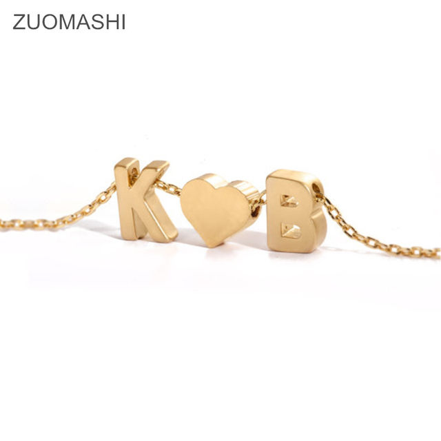 Online shop tiny gold initial and heart necklace double letters name tiny gold initial and heart necklace double letters name necklaces pendant for women girls st friend jewelry aloadofball Images