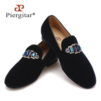 Piergitar 2018 new style Two Colors Rhinestone men shoes Fashion Party and wedding men loafers Slip on Men's Casual Shoes