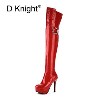 Big Size 33-48 Sexy Lady Over The Knee Boots Red Black High Heels Knight Boots Patent Leather Women Nightclub Pole Dancing Boots