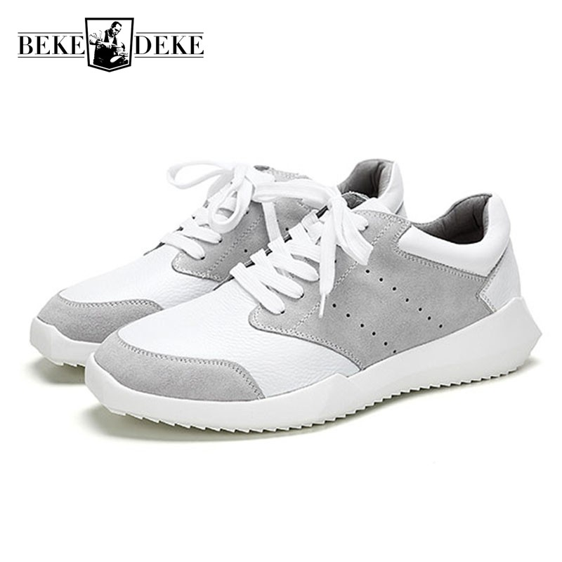 Summer Korean New Flat Men Shoes Luxury Brand Lace Up Breathable White Sneakers Men Casual High Quality Leather Shoes Homme