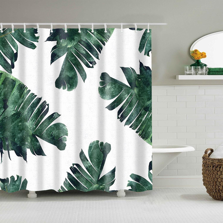 Verde impermeable temporada plantas flores impresión única Cortina de ducha  de poliéster para ...