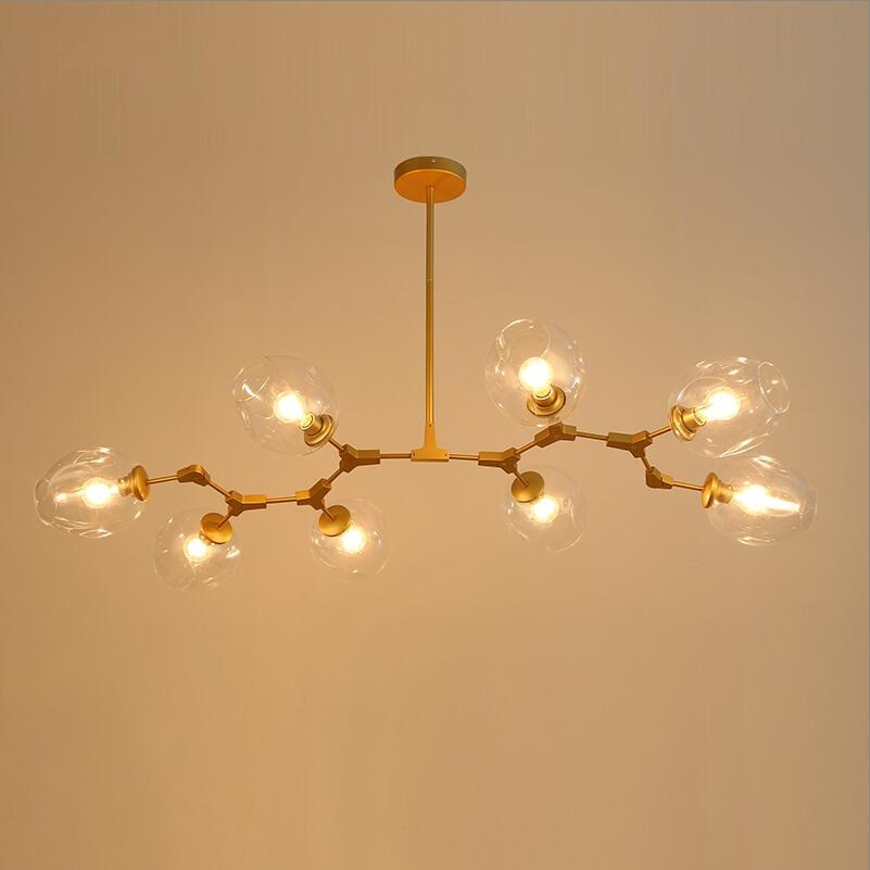 North Europe Style 8 lights Branching Bubble Amber Glass Pendent Lights Lamps for Living ...