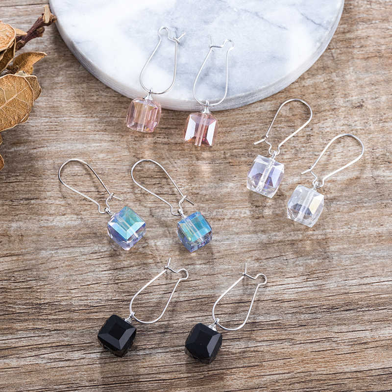 TDQUEEN Square Pink Crystal Earrings For Women Blue Long Dangle Drop Beads Pendant Designer Elegant Simple Style Lady Earing