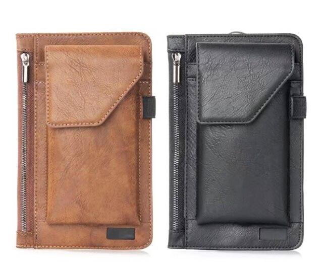 Hook Loop Man Belt Clip Zipper Card Pouch Dual Mobile Phone Leather Case For Galaxy Note7R ,Galaxy S9,Leagoo M7,Oukitel U11 Plus