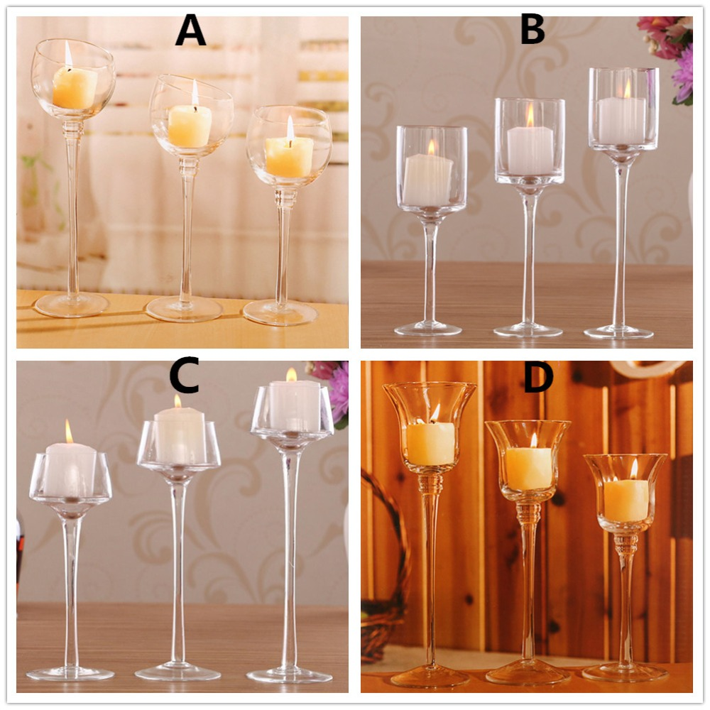 3pcs/set Crystal Glass Stemmed Votive Candle Holder Pillar Tea Light Goblet Candlestick Wedding Pub Party Decoration image