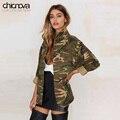2016 Новый камуфляж куртка женщин плюс Размер Длинным Рукавом Джинсовой Куртки застежки-молнии женская Куртка Пальто TA02801030329