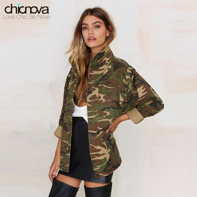 2016 New camo jacket women plus Size Long Sleeve Denim