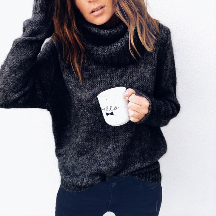 Plus Size Winter Warm sweater female loose sweaters women Casual jumper pullover Solid pullovers Black soft