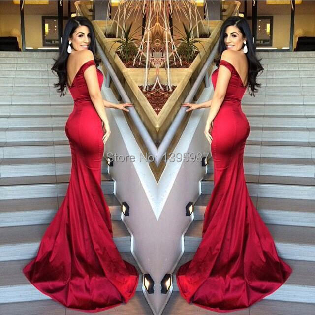 9f2d8bca79 Sexy Backless Mermaid Red Prom Dresses off-shoulder Sleeveless 2015 Fitted  Bodice Low cut Party Gowns Fashionable Style XZ002