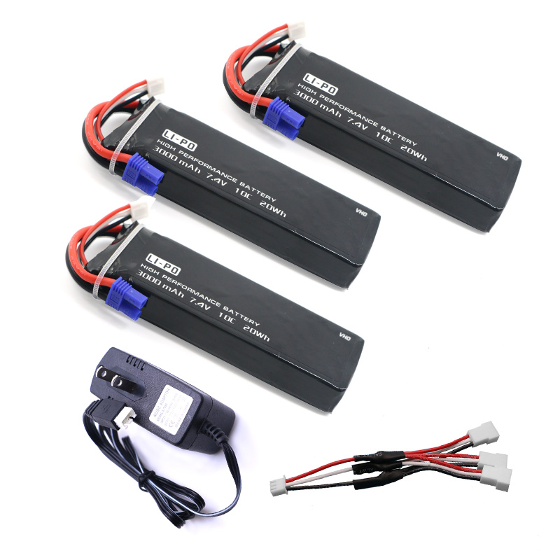 VHO 7.4V 3000mAh 10C Hubsan H501S lipo battery 3PCS + UL charger Hubsan H501C rc Quadcopter Airplane drone Spar 4pcs 7 4v 2700mah 10c hubsan h501s lipo battery batteies with cable for charger hubsan h501c rc quadcopter airplane drone spar