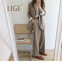 LIGE women suit set Women Plaid Office Lady Fashion Casual Blazer + Draped High Waist Wide Leg ensemble femme 2 pieces pan