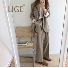 LIGE women suit set Women Plaid Office Lady Fashion Casual B