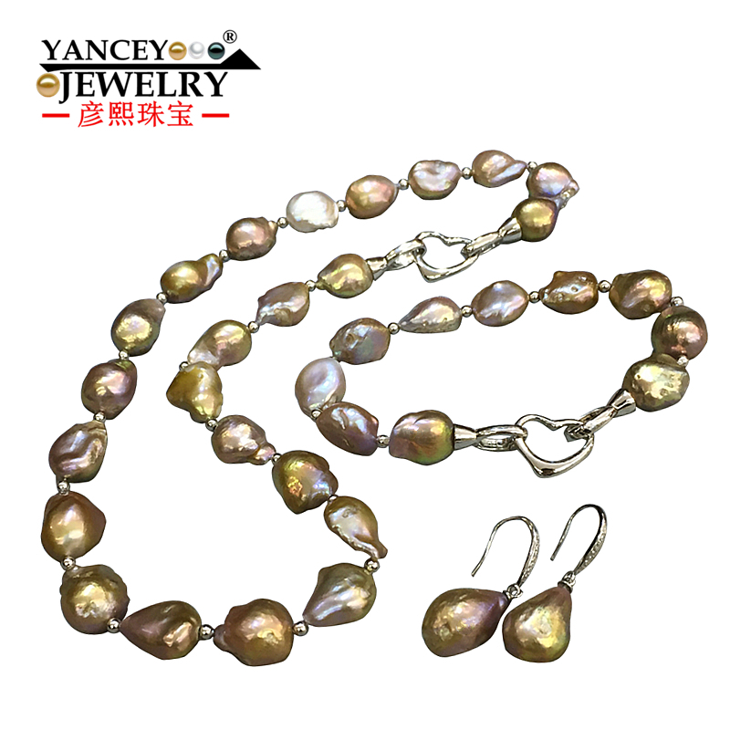 YANCEY 2017 New natural Baroque shaped bright light freshwater pearls necklaces bracelets earrings font b Jewelry