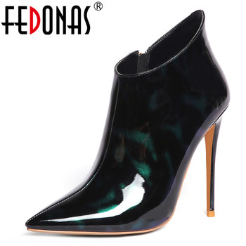 FEDONAS Brand 2019 Autumn Winter Fashion Sexy Pointed Toe Super High Heels Night Club Shoes Woman Patent Leather Ankle Boots