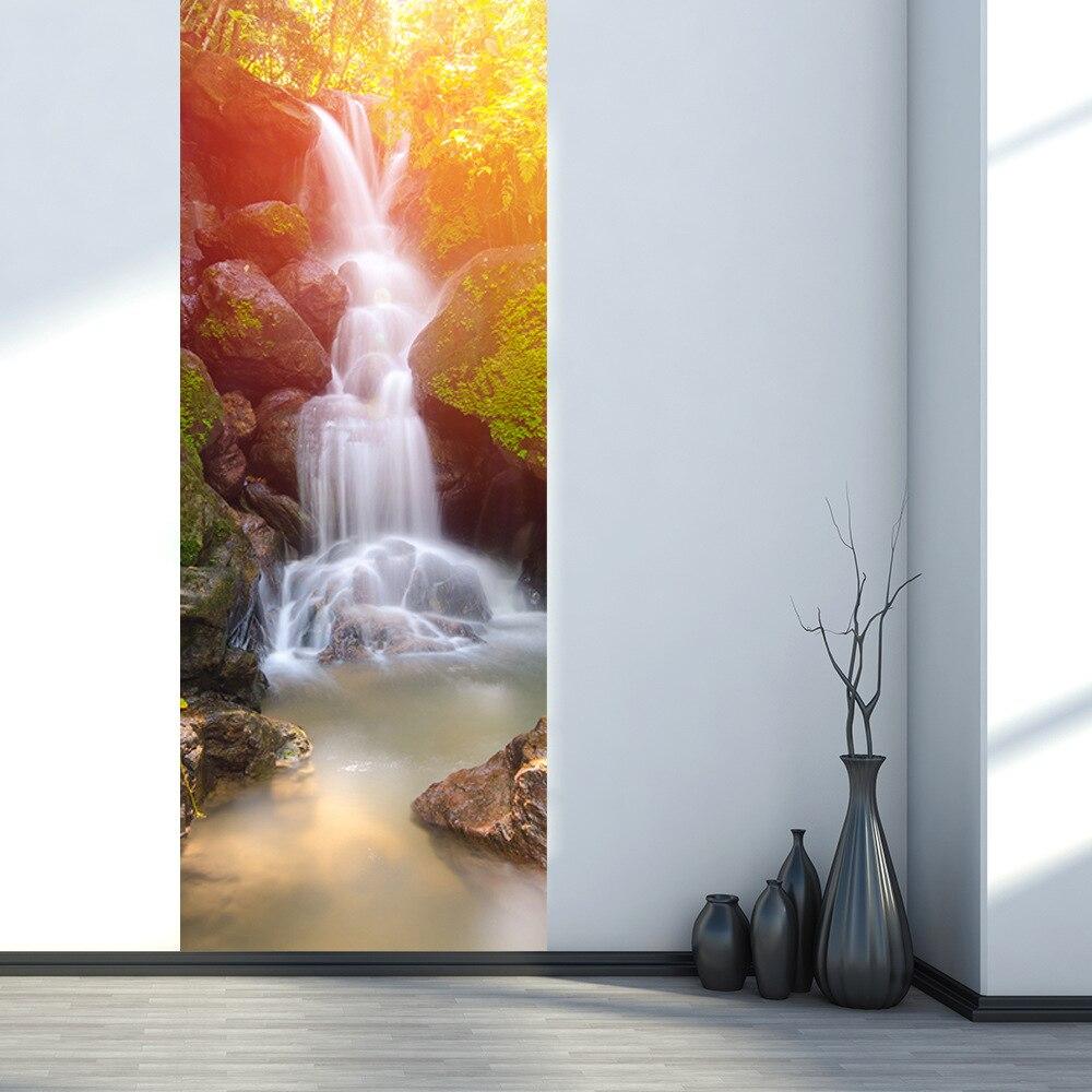 Us 25 61 39 Off 200x38 5 Cm 2 Teile Satz Wasserfall Wohnzimmer Badezimmer Wasserdichte Wand Papier Imitation 3d Tur Aufkleber Pvc Selbst Adhesive