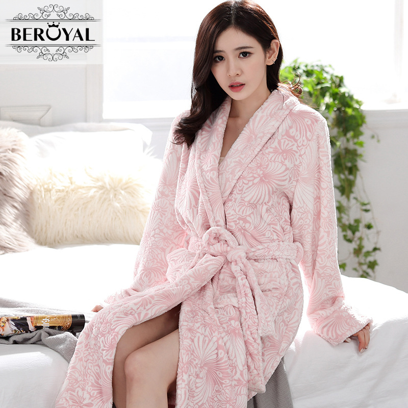 Beroyal Brand Flannel Bathrobe Ladies Women Men Sexy Sleeping Robe Floral Long Sleeve Warm Terry Towelling Bath Robes for Couple